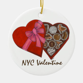 NYC Valentine Chocolate Heart Box Ornament