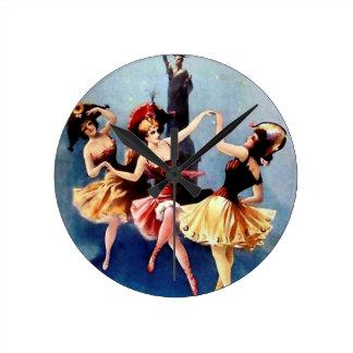 NYC Vintage Ballerinas Dance Round Clock