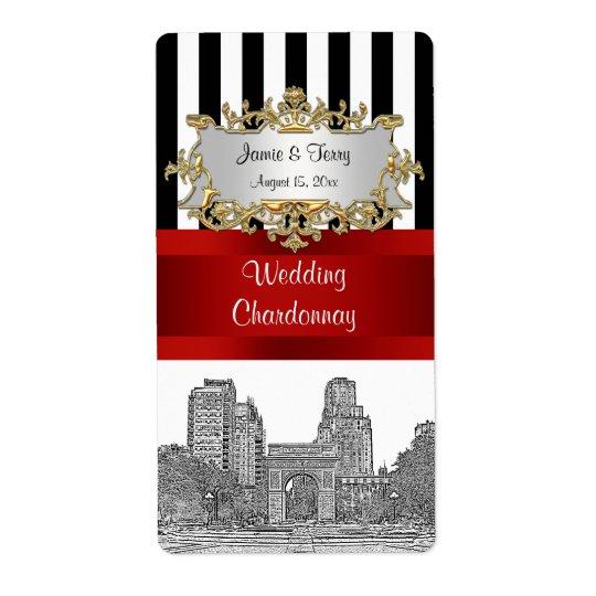 NYC Washingtn Sq Pk Blk Wht Stripe Red Wine Label Shipping Label