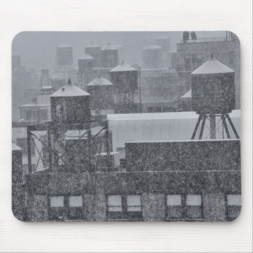 NYC Water Towers During Freak October Snow Storm Mousepads