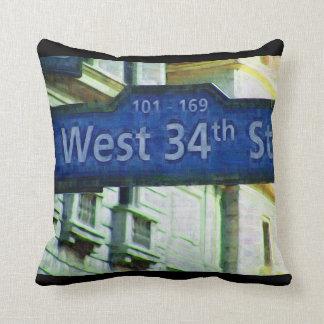NYC West 34th Street Sign Cushion