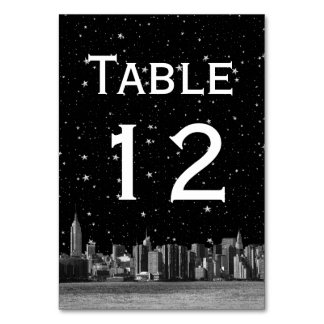 NYC Wide Skyline Etch Starry DIY BG Table Number Table Cards