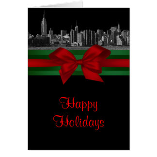 NYC Wide Skyline Etched BW Christmas Holiday 2 Greeting Card