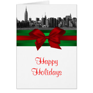 NYC Wide Skyline Etched BW Christmas Holiday Card