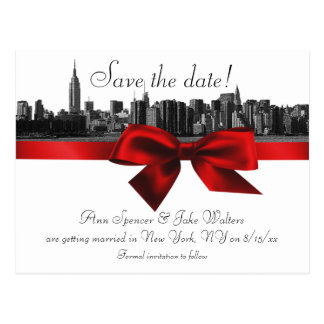 NYC Wide Skyline Etched BW Dark Red Save the Date Postcard