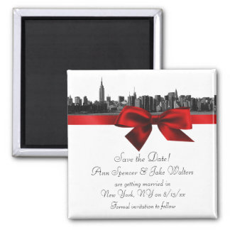 NYC Wide Skyline Etched BW Dark Red Save the Date Square Magnet