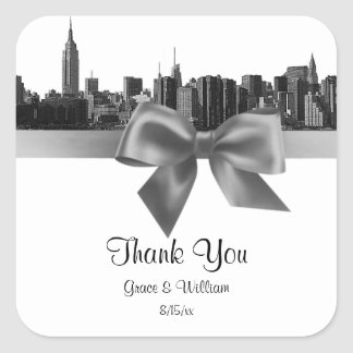 NYC Wide Skyline Etched BW Gray Favor Tag Square Sticker