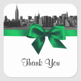 NYC Wide Skyline Etched BW Green Favor Tag #2 Square Sticker