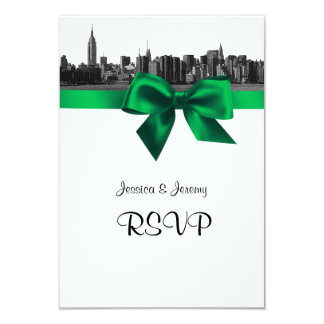 NYC Wide Skyline Etched BW Green RSVP #1 9 Cm X 13 Cm Invitation Card