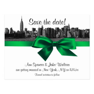 NYC Wide Skyline Etched BW Green Save the Date Post Card