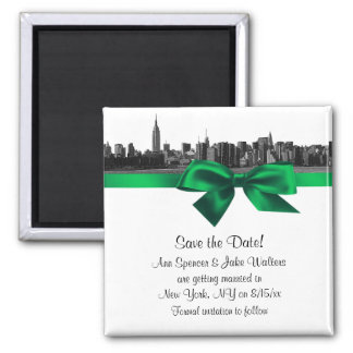 NYC Wide Skyline Etched BW Green Save the Date Square Magnet