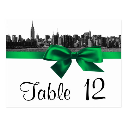 NYC Wide Skyline Etched BW Green Table Number Post Cards