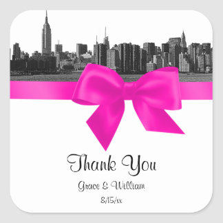 NYC Wide Skyline Etched BW Hot Pink Favor Tag Square Sticker
