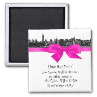 NYC Wide Skyline Etched BW Hot Pink Save the Date Square Magnet