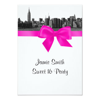 NYC Wide Skyline Etched BW Hot Pink Sweet 16 13 Cm X 18 Cm Invitation Card