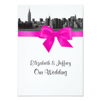 NYC Wide Skyline Etched BW Hot Pink Wedding Card