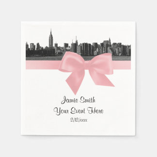 NYC Wide Skyline Etched BW Light Pink Ribbon Disposable Serviettes