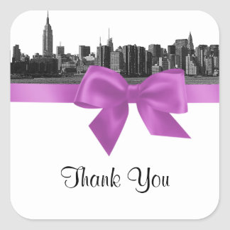 NYC Wide Skyline Etched BW Lilac Favor Tag 2 Square Stickers