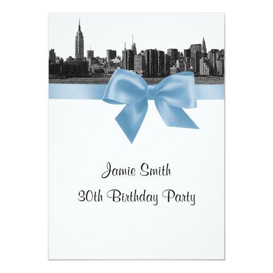 NYC Wide Skyline Etched BW Lt Blue Birthday