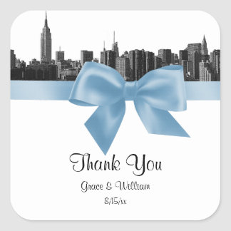 NYC Wide Skyline Etched BW Lt Blue Favor Tag Stickers