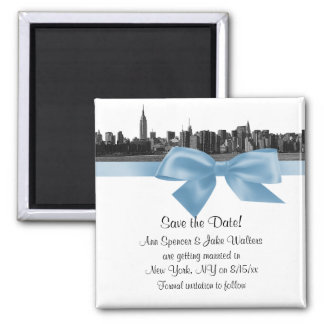NYC Wide Skyline Etched BW Lt Blue Save the Date Magnet