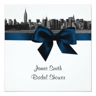 NYC Wide Skyline Etched BW Navy B Bridal Shower SQ 13 Cm X 13 Cm Square Invitation Card
