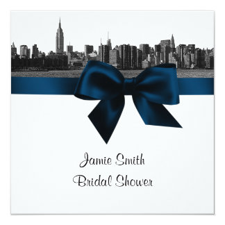 NYC Wide Skyline Etched BW Navy B Bridal Shower SQ Card