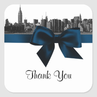 NYC Wide Skyline Etched BW Navy Blue Favor Tag #2 Square Sticker