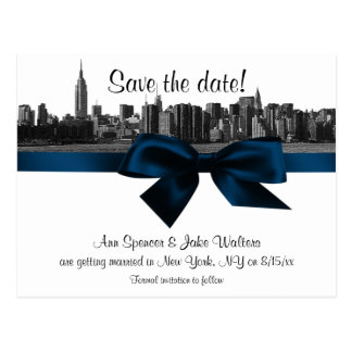 NYC Wide Skyline Etched BW Navy Blue Save the Date Post Cards