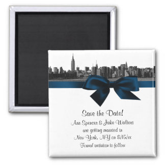 NYC Wide Skyline Etched BW Navy Blue Save the Date Square Magnet