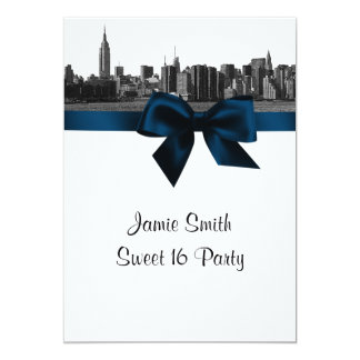 NYC Wide Skyline Etched BW Navy Blue Sweet Sixteen Card