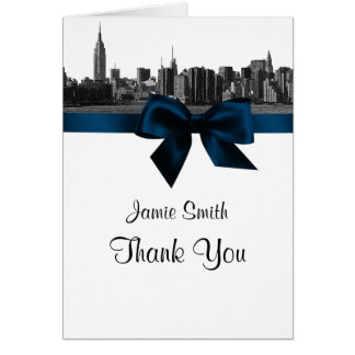 NYC Wide Skyline Etched BW Navy Blue Thank You #2 Card