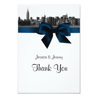NYC Wide Skyline Etched BW Navy Blue Thank You 9 Cm X 13 Cm Invitation Card