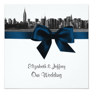 NYC Wide Skyline Etched BW Navy Blue Wedding SQ Card