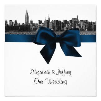 NYC Wide Skyline Etched BW Navy Blue Wedding SQ Announcement