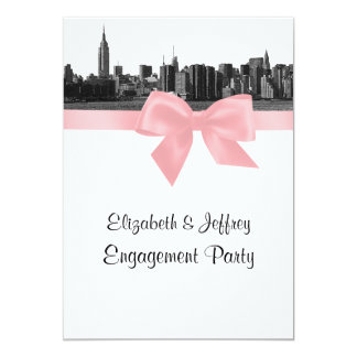 NYC Wide Skyline Etched BW Pink Engagement Party Card