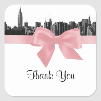 NYC Wide Skyline Etched BW Pink Favor Tag #2 Square Sticker