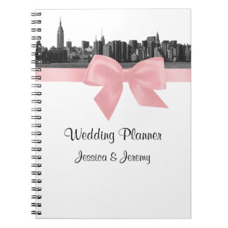 NYC Wide Skyline Etched BW Pink Planner Notebook
