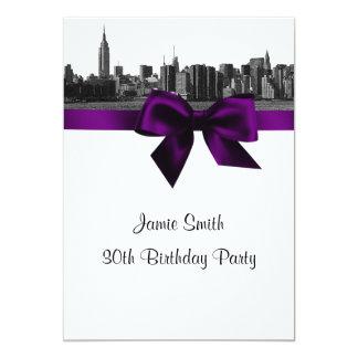 "NYC Wide Skyline Etched BW Purple Birthday Party 5"" X 7"" Invitation Card"