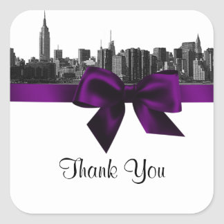 NYC Wide Skyline Etched BW Purple Favor Tag #2