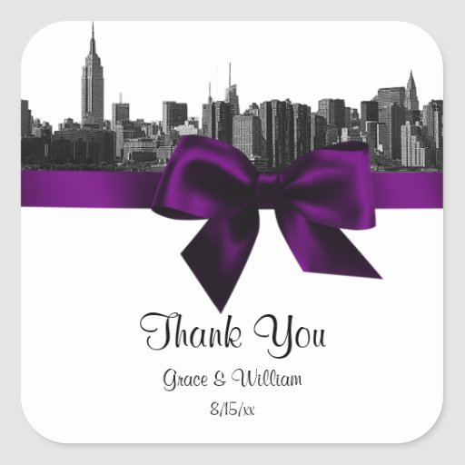 NYC Wide Skyline Etched BW Purple Favor Tag Square Stickers