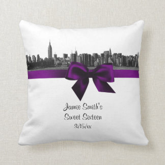 NYC Wide Skyline Etched BW Purple Pillow