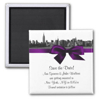NYC Wide Skyline Etched BW Purple Save the Date Square Magnet