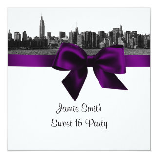 NYC Wide Skyline Etched BW Purple Sweet Sixteen SQ 13 Cm X 13 Cm Square Invitation Card