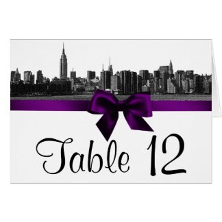NYC Wide Skyline Etched BW Purple Table Number
