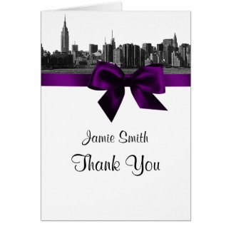 NYC Wide Skyline Etched BW Purple Thank You #2 Note Card