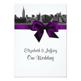 NYC Wide Skyline Etched BW Purple Wedding Card