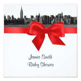 NYC Wide Skyline Etched BW Red Baby Shower SQ Card