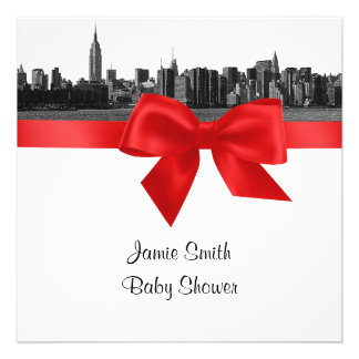 NYC Wide Skyline Etched BW Red Baby Shower SQ Invite