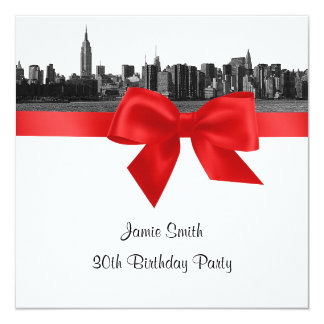 NYC Wide Skyline Etched BW Red Birthday Party SQ Card
